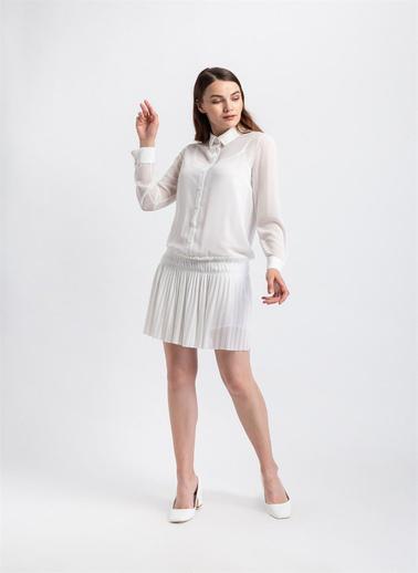 Rue Eteği Piliseli Gömlek Elbise Ekru